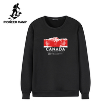 Pioneer Camp Warm Fleece Men Hoodies Sweatshirts no Hood Causal O neck Black Gray Winter Hoodie for Men AWY902385