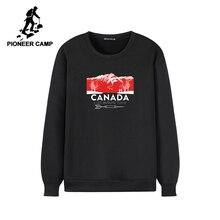 Pioneer camp quente velo moletom com capuz sem capuz causal o pescoço preto cinza inverno hoodie para homem awy902385