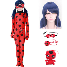 купить Fantasia Kids Adult Lady Bug Costumes Girls Women Child Spandex Ladybug Costume Jumpsuit Fancy Halloween Cosplay Marinette Wig по цене 375.16 рублей