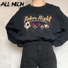 ALLNeon Y2K Aesthetics Graphic and Letter Embroidery Oversized Sweathirts E-girl Vintage 90s Crewneck Long Sleeve Black Tops