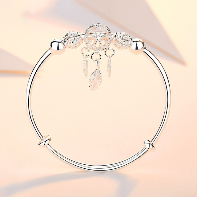 Adjustable 925 Sterling Silver Dreamcatcher Tassel Feather Round Bead Charm Bracelet &Bangle For Women Elegant Jewelry sl209 3