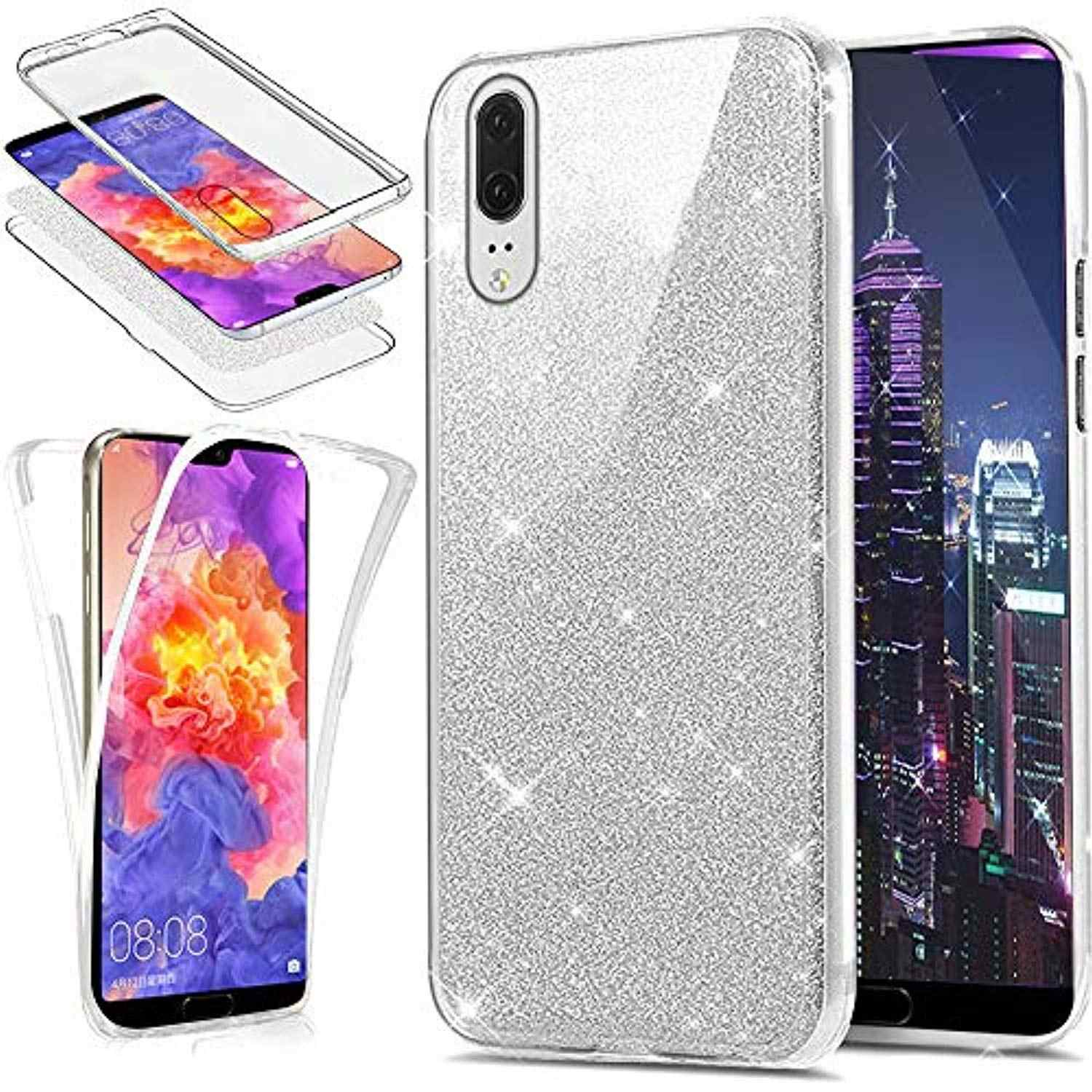 Glitter Front + Back 360 PC + TPU Full Phone Case for Samsung Galaxy A10 A20 A30 A40 A50 A70 A20E A10S A20S M30S 2019 Cover Case