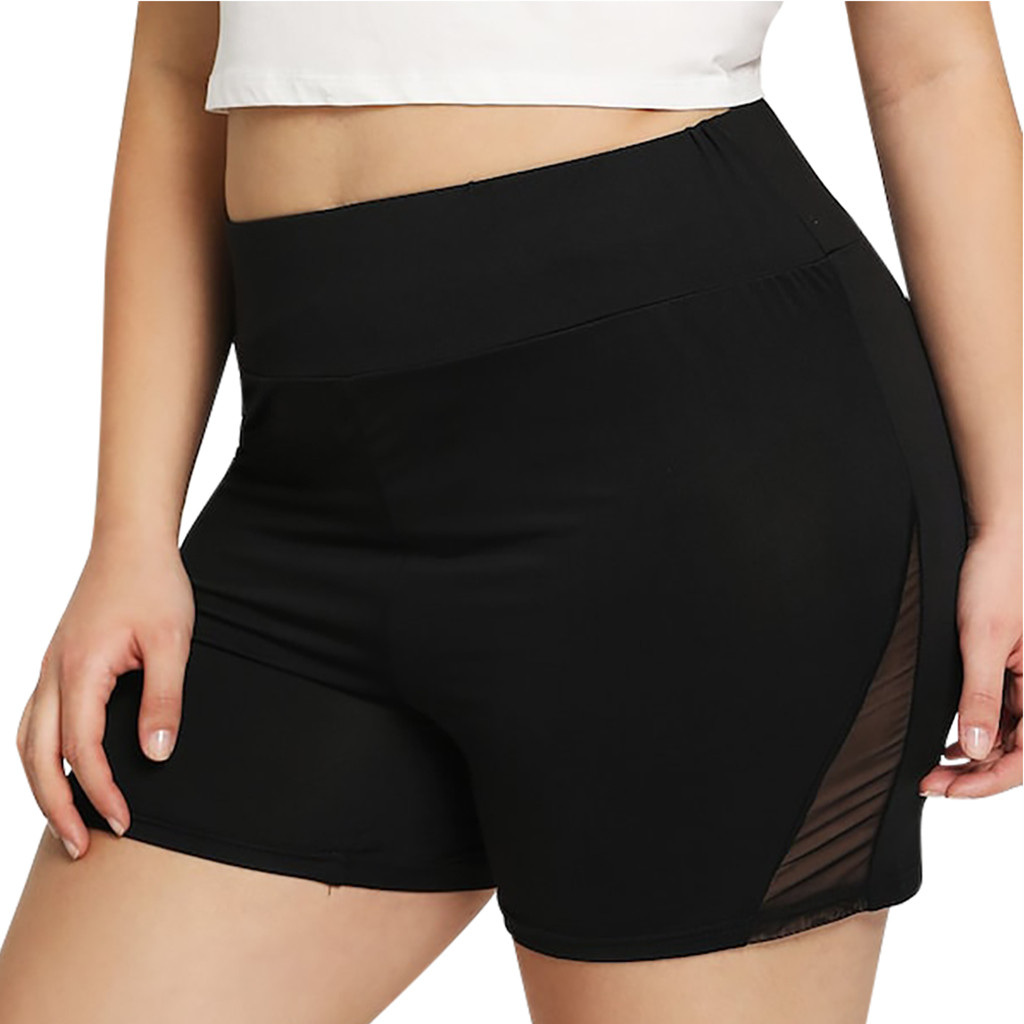 Fashion Women Perspective Plus Size Yoga Short Sport Solid Fitness Elastic Shorts Women High Elastic Solid Color Shorts