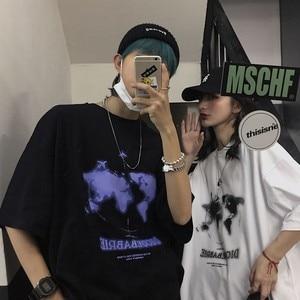 Nicemix Harajuku Koreaanse T-shirt Vrouwen T-shirt Trendy Retro Kaart Gedrukt Losse Ronde Hals Paar Shirt Korte Mouwen T-shirt vrouwelijke