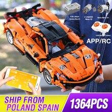 1363PCS MOC 기술 시리즈 P1 오렌지 레이싱 카 APP RC 모델 빌딩 벽돌 파워 모터 기능 키즈 교육 완구 선물