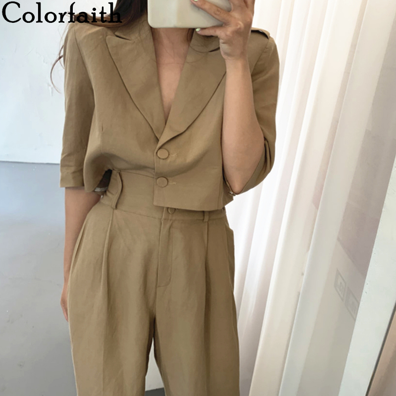 Colorfaith 2020 New Summer Woman Sets 2 Piece Ankle-Length Wide Leg Pants High Waist Casual Single Breasted Costume Suit WS1019