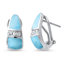 High Quality 925 Sterling Silver Cushion Cut Natural Larimar Stud Earrings for