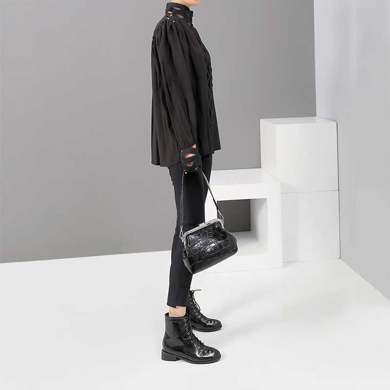 [EAM] Женская Черно-белая открытая блузка с человеком, новая водолазка с длинным рукавом, свободная рубашка, модная весенне-осенняя 2019