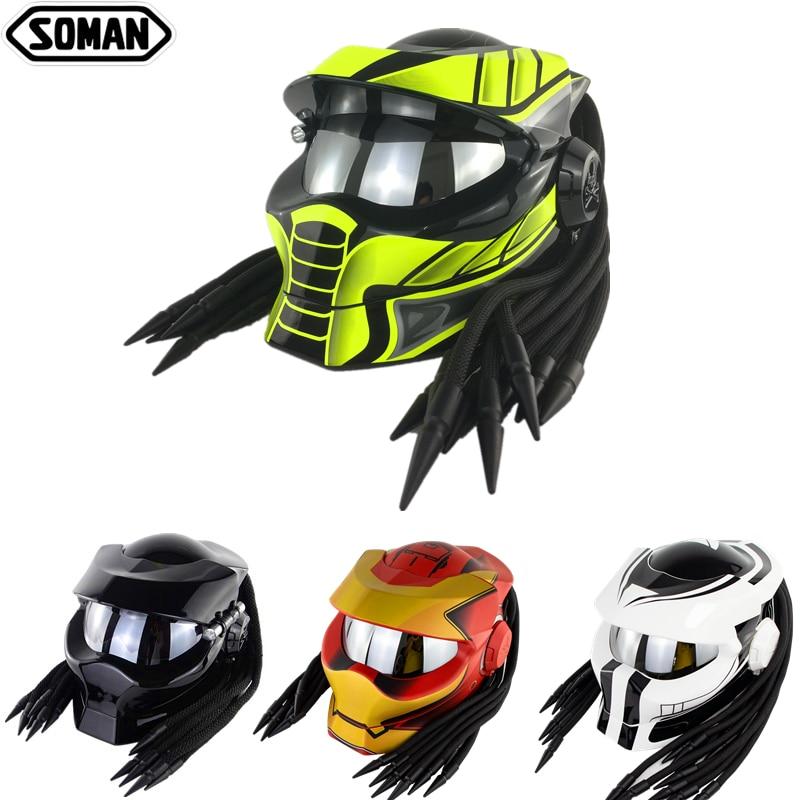 SOMAN Helmets Predator Black Flip Up Motorcycle Helmet Custom Full Face Helmets Cool Casco Moto Motorcycle Helmet Predator