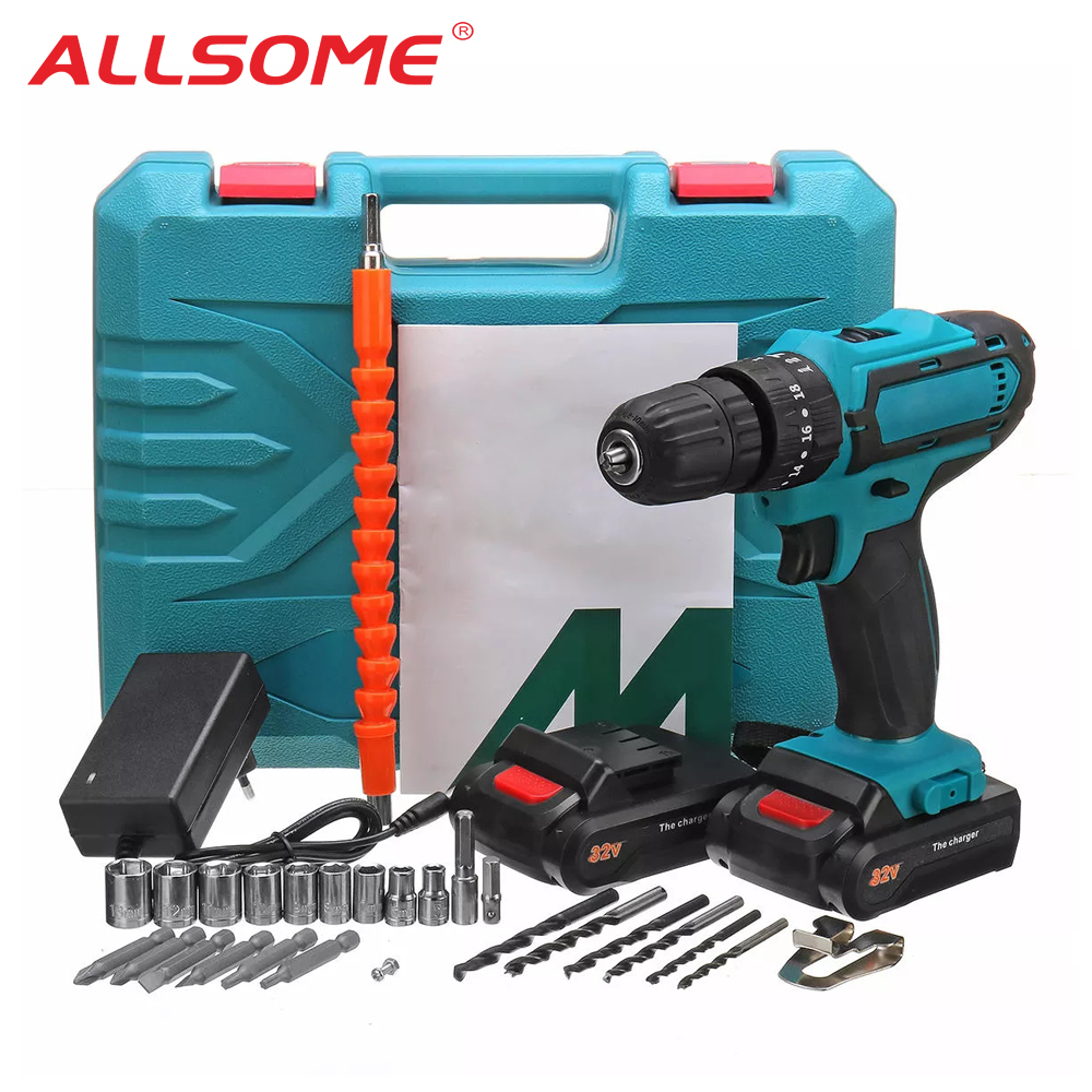 ALLSOME 32V 2 Speed Power Drills 6000mah Cordless Drill 3 IN1 Electric Screwdriver Hammer Hand Drill 2 Batteries HT2785