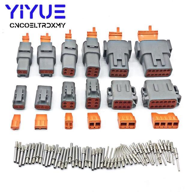 Deutsch DTM 2 12P DTM06 2/3/4/6/8/12S DTM04 2/3/4/6/8/12P 16 22awg wodoodporne złącze z solidnymi kołkami Automotive Sealed Plug