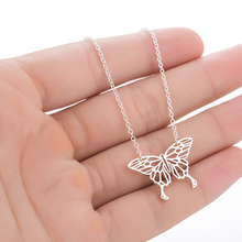 Hollow Butterfly Necklace Geometric Pendant Chain Origami Statement Stainless Steel