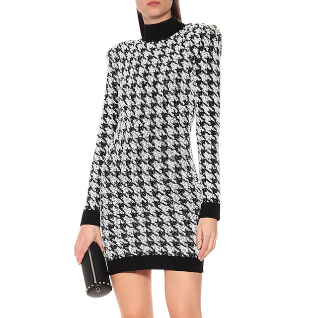 HIGH QUALITY Runway 2020 Stylish Designer Dress Womens Lion Buttons Shimmer Tweed Houndstooth Dress