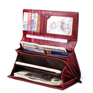 Image 3 - GZCZ Frauen Kupplung Brieftaschen 100% Echtem Leder RFID Mehrere Karten Halter Lange Mode Weibliche Geldbörse Mit Telefon Tasche 2020