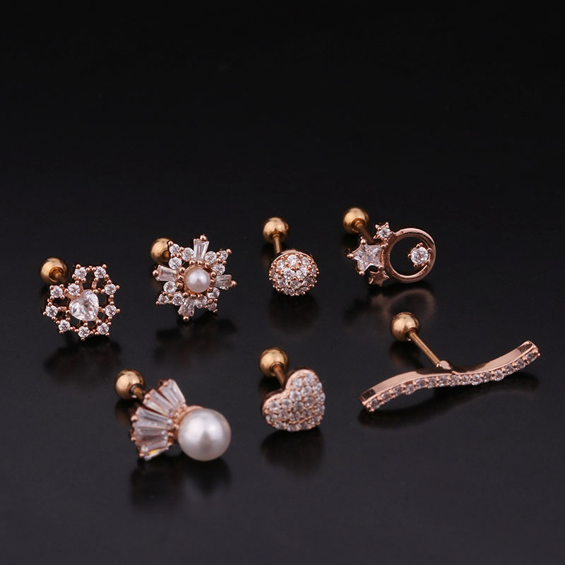 Sellsets New 1PC 20g Stainless Steel Screw Back Stud Earring Cz Cartilage Helix Tragus Conch Rook Lobe Ear Piercing Jewelry
