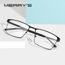 MERRYS עיצוב גברים טיטניום סגסוגת משקפיים מסגרת עסקי סגנון זכר כיכר Ultralight עין קוצר ראיה מרשם משקפיים S2057