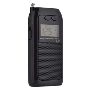 K605 Mini Pocket Radio STEREO FM AM SW MW Digital Tuning Radio Receiver MP3 Music Player Rechargeable Battery Portable Radio