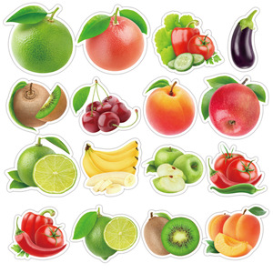 50Pcs/lot Exquisite Cartoon Fresh Fruits Vegetables Stickers For Kitchen Bakery Cup Dish Refrigerator Education Toy for children
