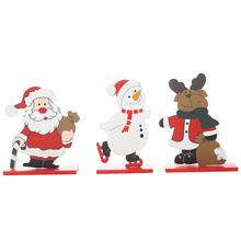 Christmas Painted Old Man Snowman Elk Desktop Small Ornaments Wooden Detachable Ornament