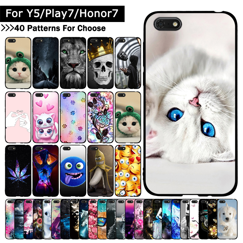 Soft TPU <font><b>Silicone</b></font> <font><b>Case</b></font> For <font><b>Huawei</b></font> <font><b>Y5</b></font> <font><b>2018</b></font>/<font><b>Y5</b></font> Prime <font><b>2018</b></font>/Honor Play 7/Honor 7s Animal Printing for Y5Prime/Honor7s <font><b>cases</b></font> Fundas image