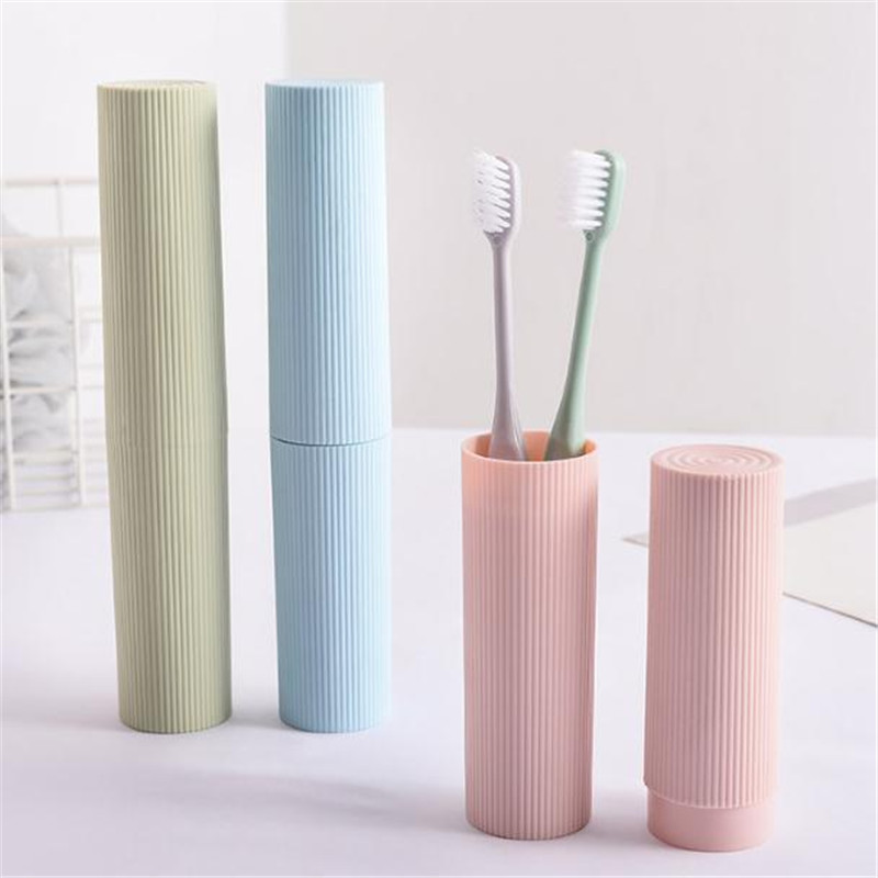 New Fashion Simple Solid Color Vertical Stripes Tooth Toothbrush Box Holder Organizer Storage Cover Case Travel Accessories