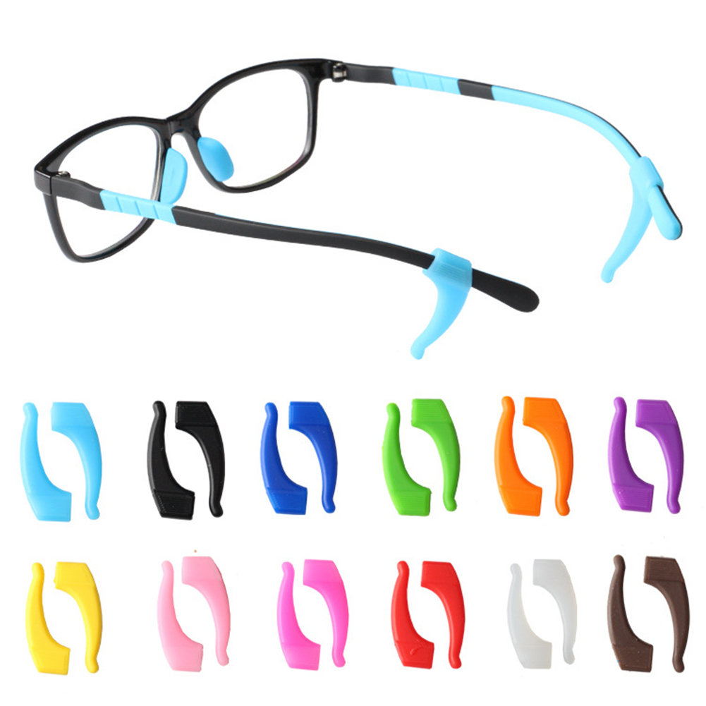 1 Pair Anti Slip Eyeglass Ear Hook Eyewear Accessories Solid Color Eye Glasses Silicone Grip Temple Tip Holder Eyeglasses Grip