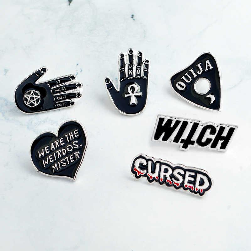 Темная ведьма, Выгравированная эмаль, булавка в стиле панк, ручной работы, черное сердце, булавки и броши, рубашка, сумка, нагрудные значки, ювелирные изделия, подарок на заказ