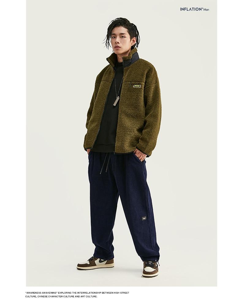 INFLATION Design Mens Winter Corduroy Jogger Pants Pure Color Loose Overalls Men Jogger Corduroy Pants Elastic Waist 93345W 11