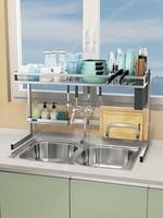 304 stainless steel sink drain rack dish rack kitchen storage rack drying bowl rack sink above the shelf