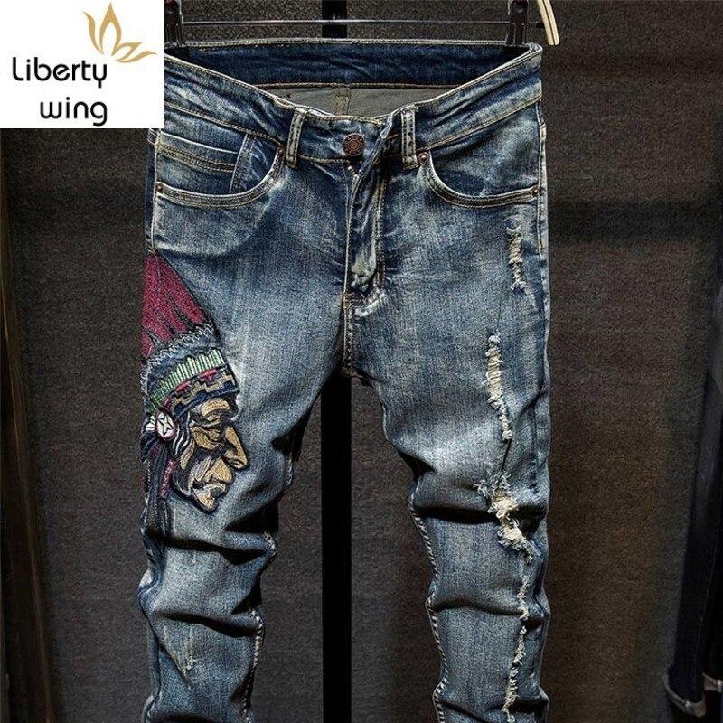 Vintage Mens Hole Ripped Casual Embroidery Long Pants Slim Fit Blue Denim Jeans Men Pantalon Homme Streetwear Male Pant