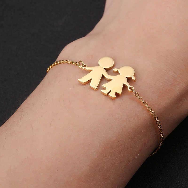 Śliczne bransoletki rodzinne dziewczyna chłopiec bransoletka amulet ze stali nierdzewnej bransoletka dla córki syn siostra brat prezenty dla par biżuteria