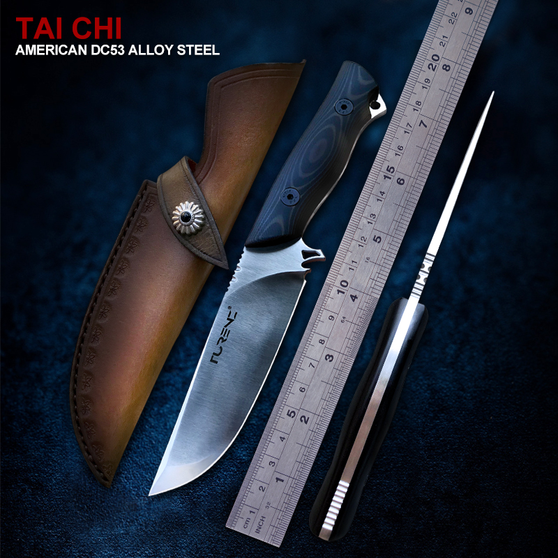 TURENZ-DC53 Steel Survival Knife Full Tang Fixed Blade Knife Outdoor Equipment Tools G10 Camping Bushcraft Knives with Sheath