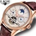 LIGE брендовые классические мужские ретро часы автоматические механические часы турбийон часы из натуральной кожи водонепроницаемые Бизнес...
