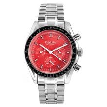 40mm montre pour hommes cadran rouge jour Date automatique Sport montre-bracelet PHYLIDA solide acier inoxydable