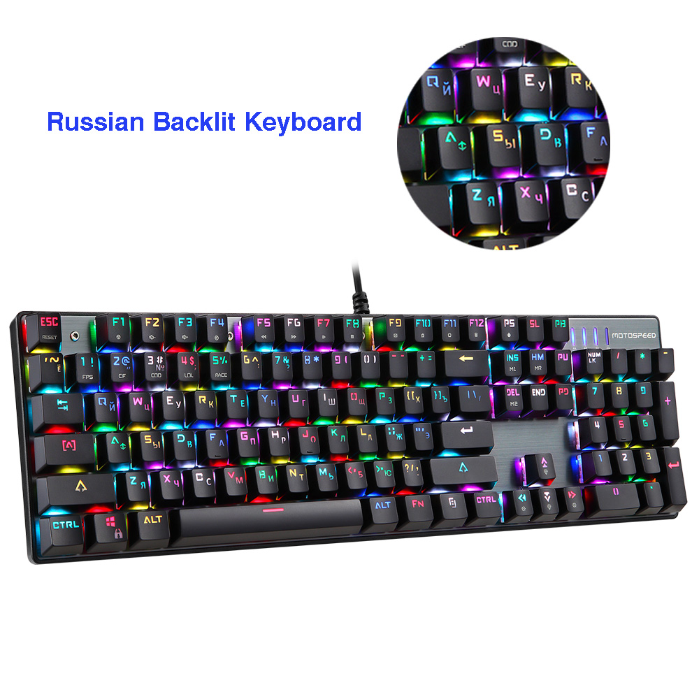 Original Motospeed CK104 Metal 104 Keys RGB Switch Gaming Wired Mechanical Keyboard LED Backlit Anti-Ghosting for Gamer Computer image