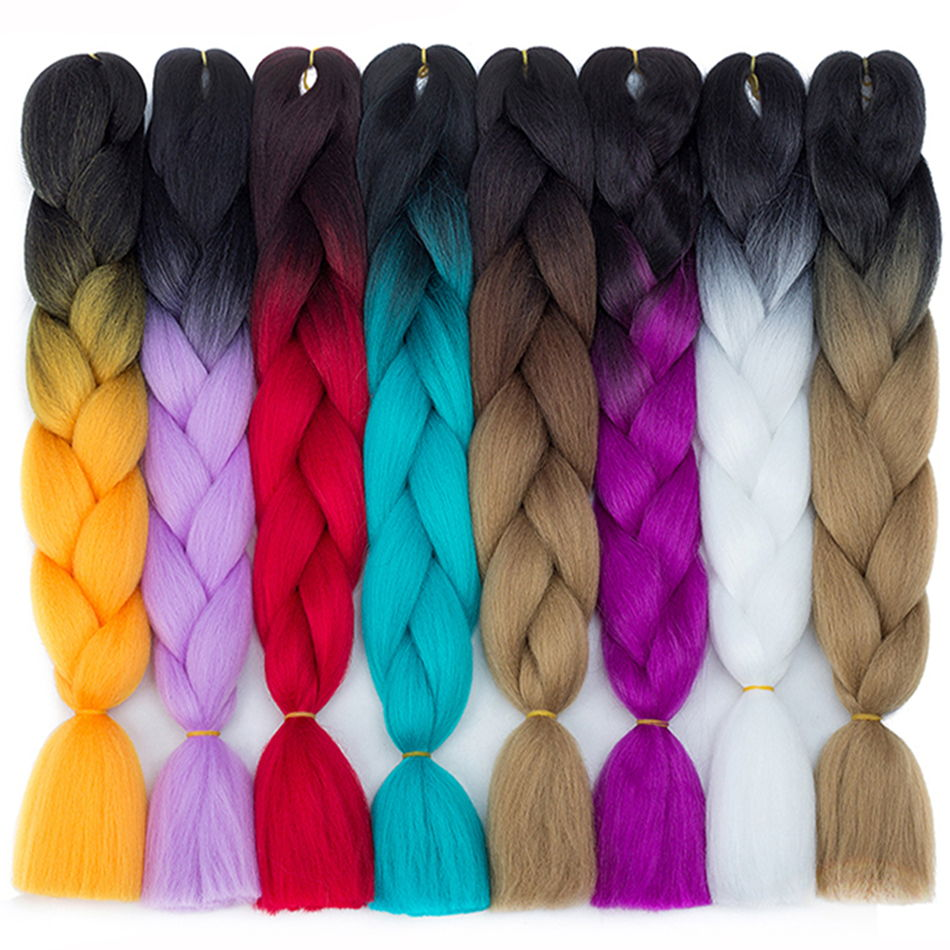 Alizing Synthetic Jumbo Braids Hair 24 Inch 100g High Temperature Fiber Ultra Braiding Ombre Crochet Braiding Hair Extensions