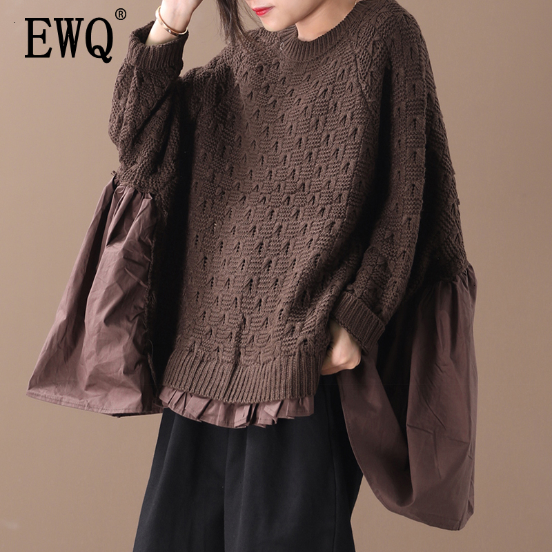 [EWQ] 2019 Autumn High Quality Round Collar Long Batwing Sleeve Knitting Vintage Loose Sweater Women Fashion Tide AH42116