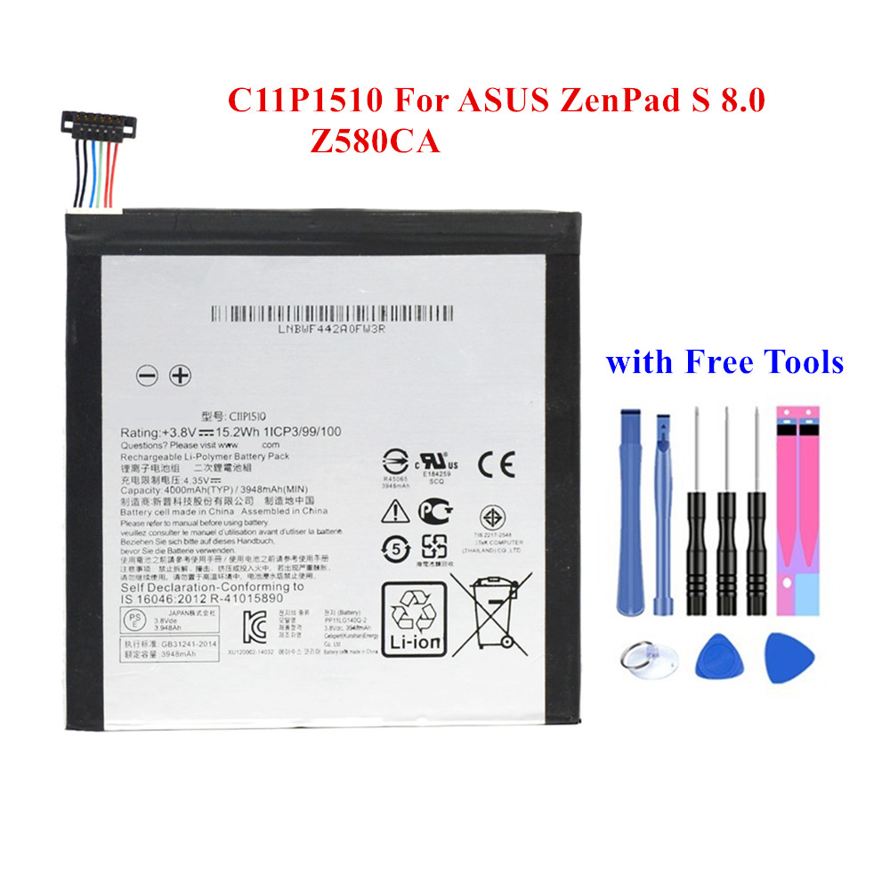 New Tablet Battery C11P1510 For ASUS ZenPad S 8.0 Z580CA 3948/4000mAh Full Capacity Rechargeable Li-Polymer Akku +Tools image