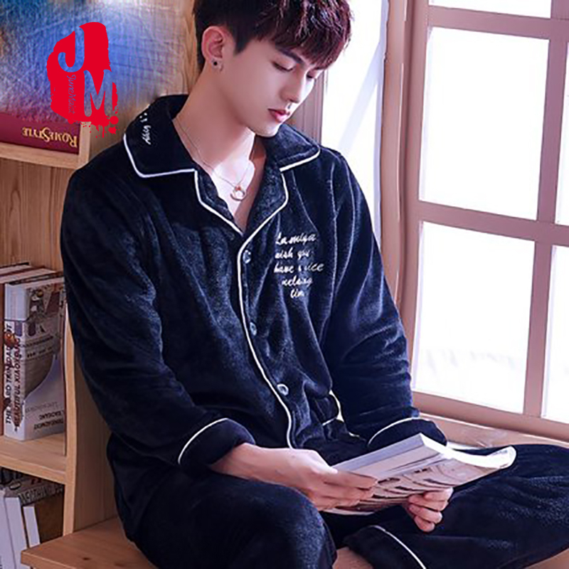 Sleepwear Men's Flannel Full Sleeve Men Pyjama Set Winter Solid Casual Coral Fleece Sleepwear Male Elastic Waist Sleep L XL XXXL