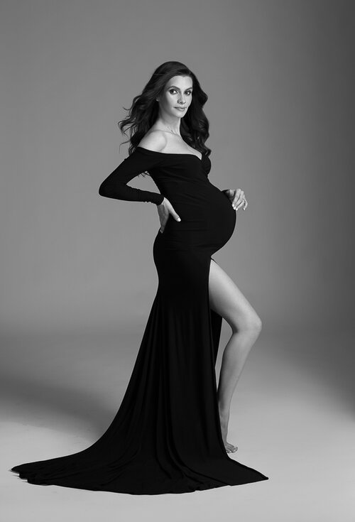 Shoulderless Maternity Dresses Photography Props Sexy Split Side Maxi Gown For Pregnant Women Long Pregnancy Dress Photo Shoots (4)