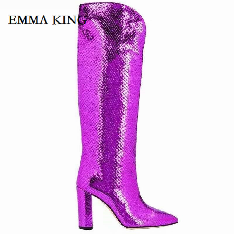 Sexy Crocodile Skin Leather Over the Knee Boots Pointed Toe Chunky Heels Thigh High Boots Sexy Purple Long Boot for Woman 2020