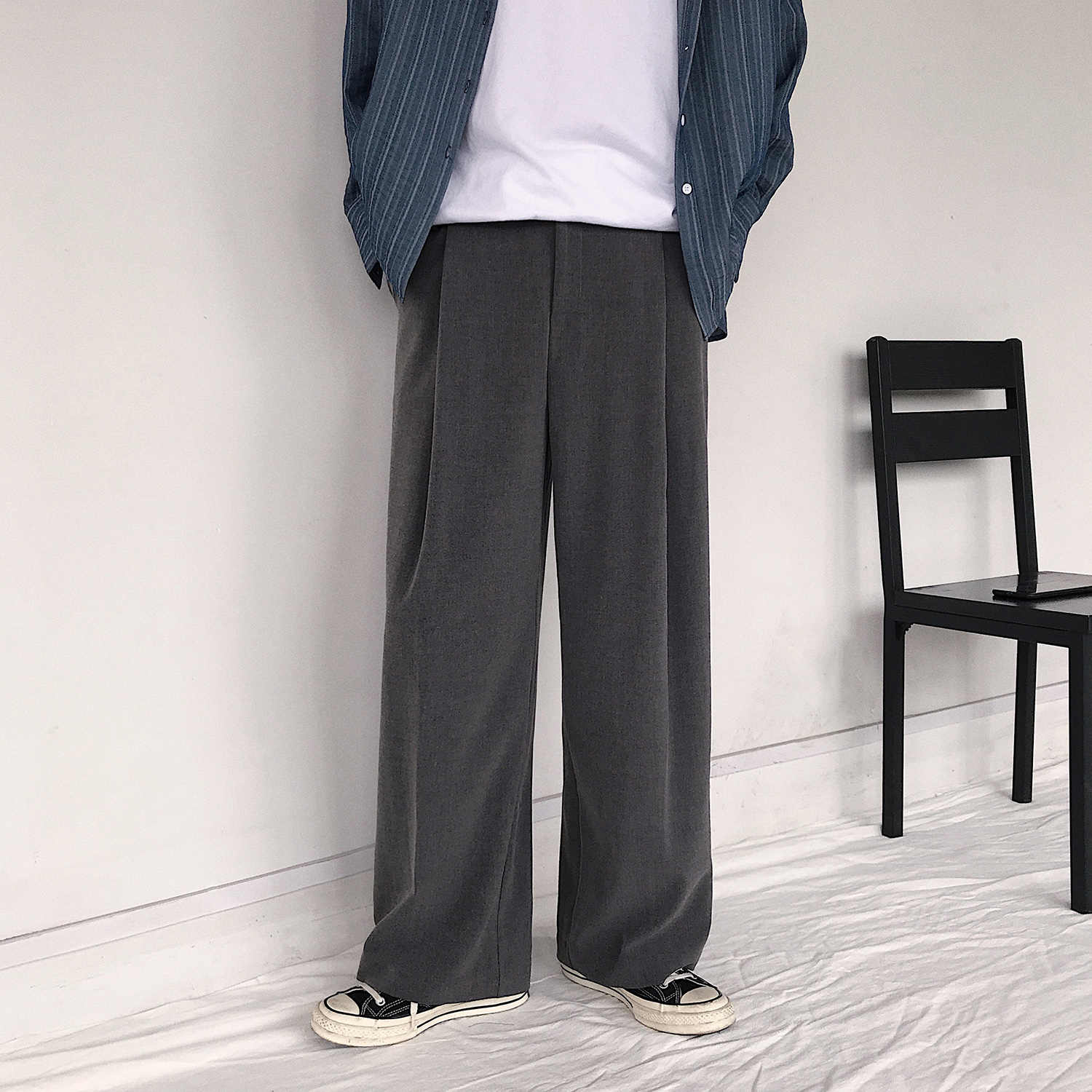 Wide Leg Pant Men Casual Straight Trousers Korean Retro Loose Solid Large Size Male Streetwear Pants Autumn Fashion 3 Colors