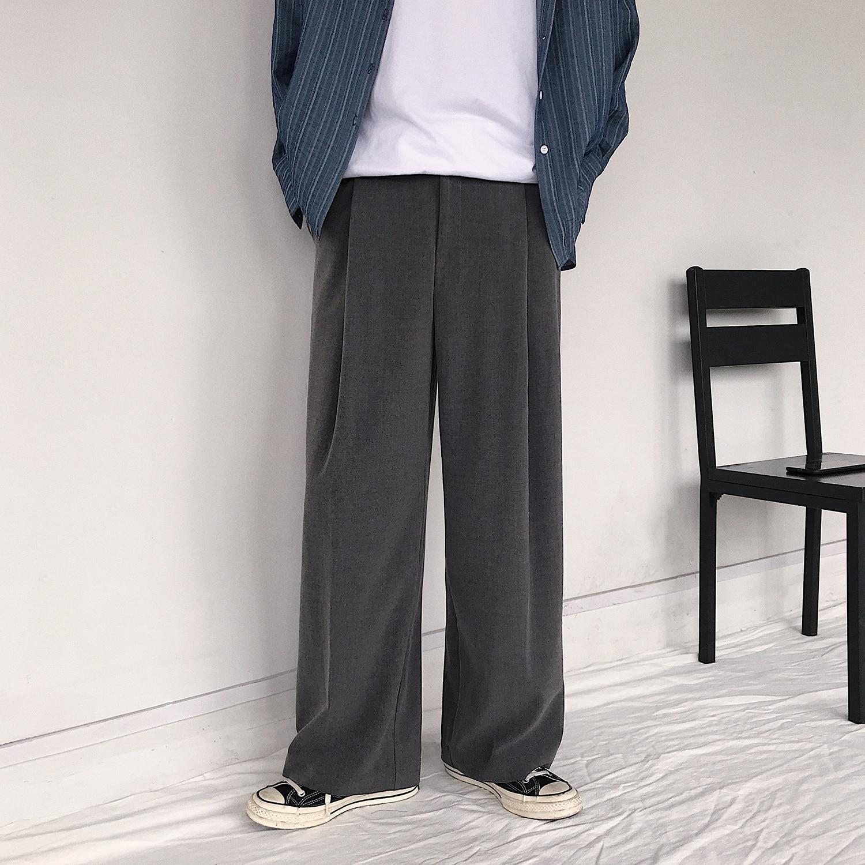 Wide Leg Pant Men Casual Straight Trousers Korean Retro Loose Solid Large Size Male Streetwear Pants Autumn Fashion 3 Colors
