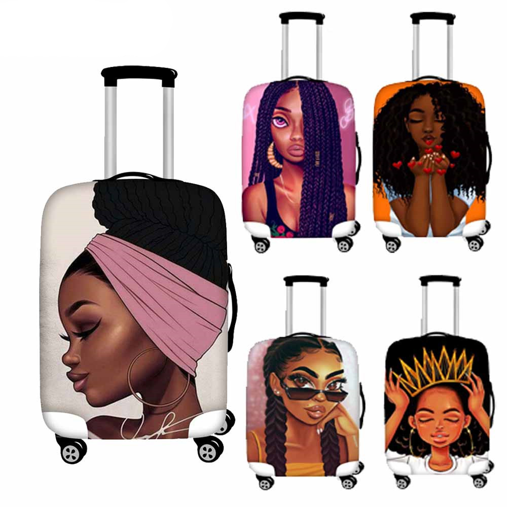 Cusotm Print Travel Protective Luggage Covers For Suitcase Black Art African Girl Printed Trolley Case Bag Elastic Baggage Cover