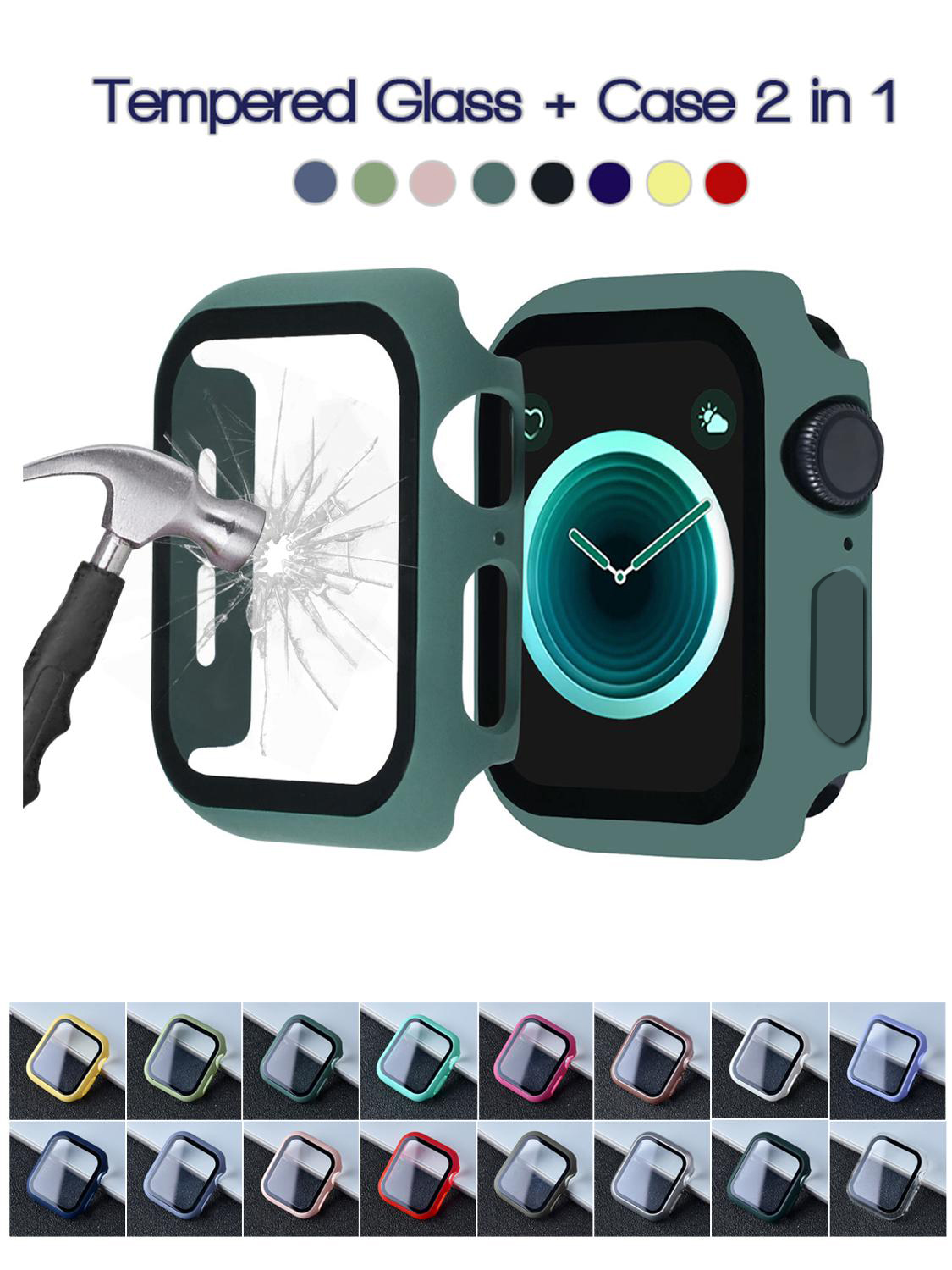 Hard-Case Bumper-Frame Tempered-Glass-Film Apple Watch Full-Screen-Protector Matte 360