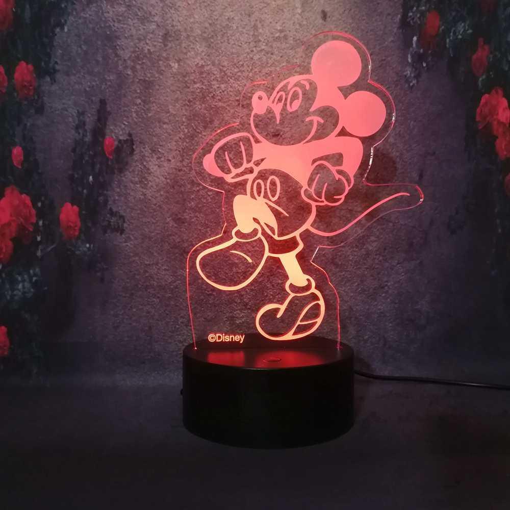 Arilux 3D LED שולחן מנורת USB תשלום שינה סלון בר אווירה תפאורה שמוצג לילה אור חמוד שמח מיקי ללכת הליכה מנורה
