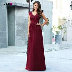 Burgundy Evening Dresses Ever Pretty EP00622BD A-Line V-Neck Lace Embroidery Sleeveless Elegant Evening Gowns Vestido De Festa