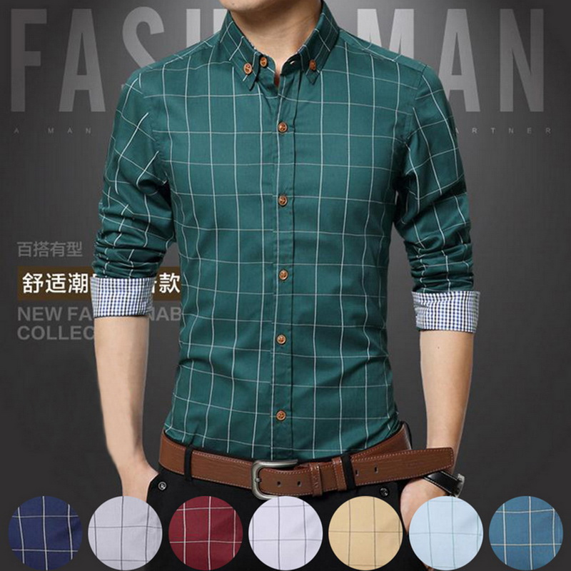 5XL Plaid Printed Long Sleeve Formal Men Shirt Turn-down Collar Male Business Dress Fashion Patchwork Shirts Tops