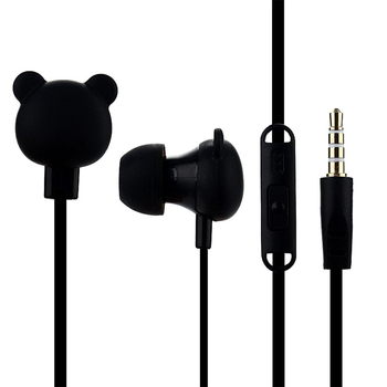 Portable Lightweight Gift Audio Cartoon Noise Reduction Music Listening Wired Headset Bear With Microphone In Ear Bright Colors image
