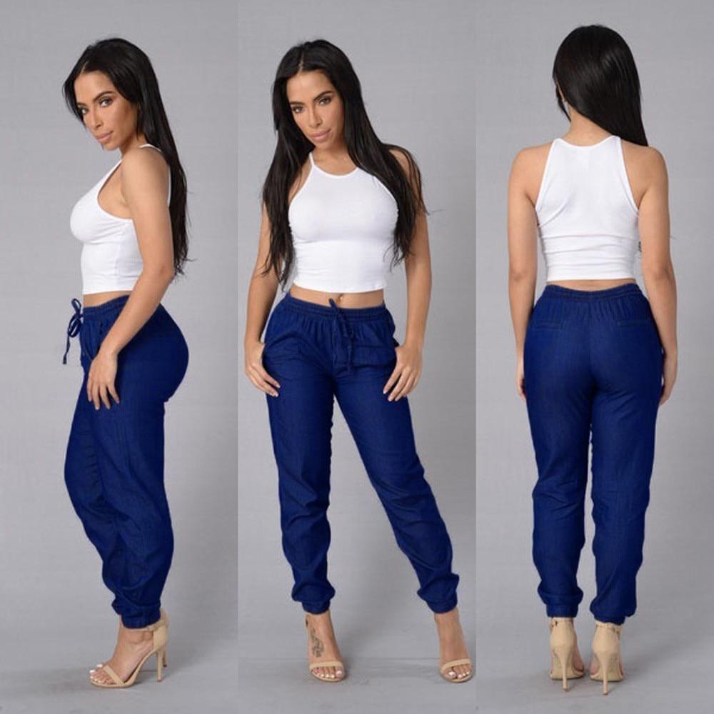 2020 New Jeans for Women Jeans Elastic Waist Casual Pants High Waist Jeans Casual Blue Denim Pants Casual Slim Jeans
